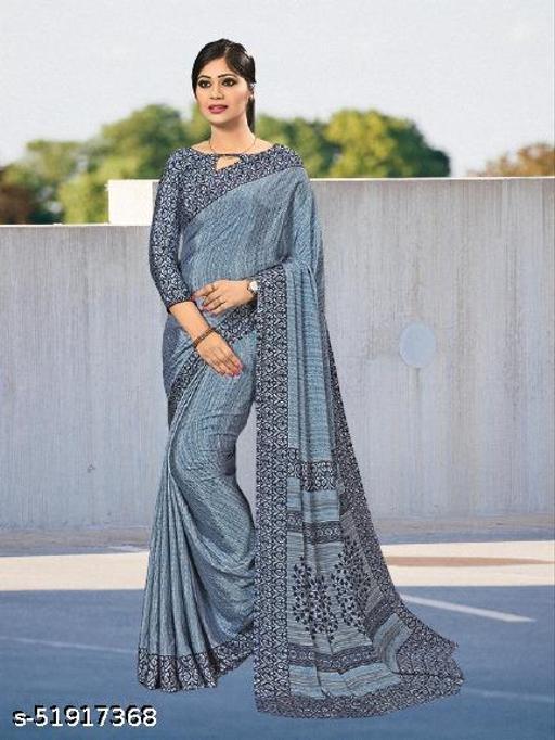 Silk Crepe Printed Daily Wear Saree