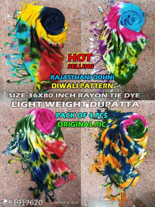 Light Weight Rayon Dupatta Size-36x80 inches, Floroscent in Color, Clearance SALE, Hurry Up !!! COMBO PACK - 4PCS