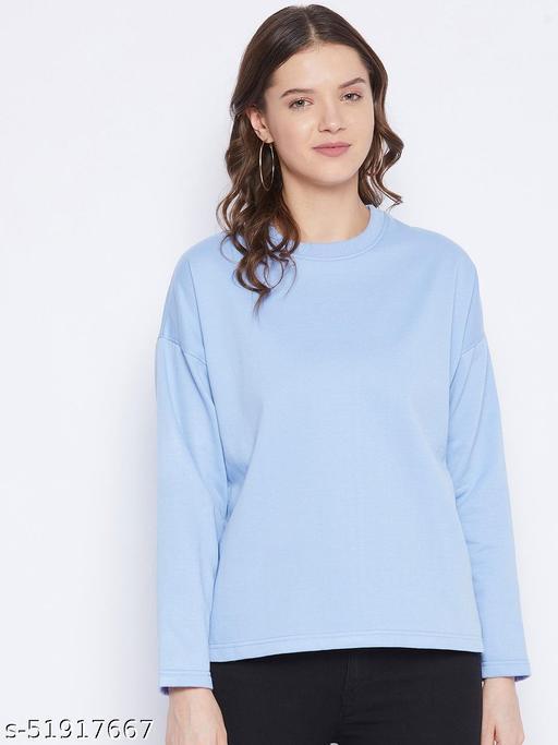Women's Fleece Drop Shoulder Round Neck Sweatshirt