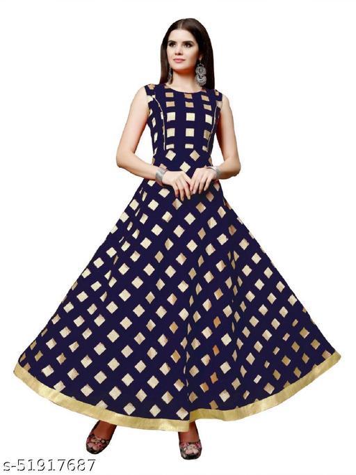 Women's Chanderi Jackard Printed Maxi Long Gown Dress
