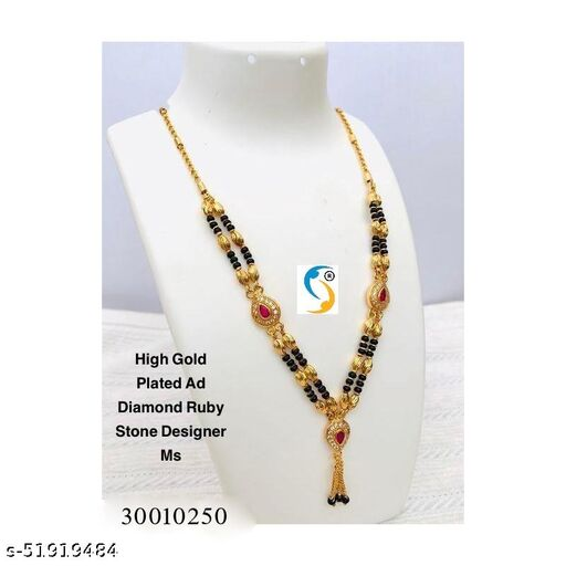 New design premium quality high gold plated ad diamond ruby stone designer oval ms. Mangalsutras