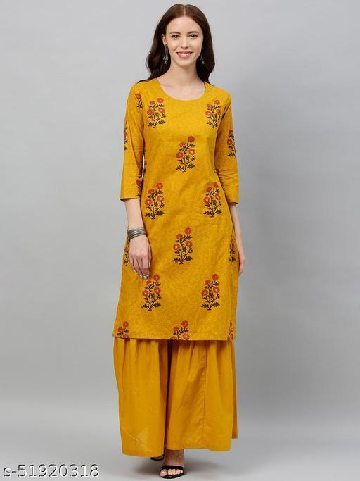 Kipek Women's Mughal Printed Cotton fabric Kurta & Sharara Set Mustard Color