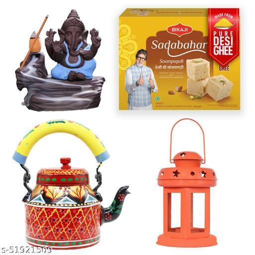iHandikart Diwali Gift Combo for Diwali Gifting, (Combo Includes - Handpainted Kettle, Smoke Fountain, Lantern And Sadabahar Soanpapdi 450g ),IHKSKU-DFC0032
