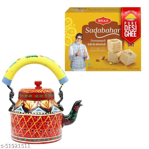 iHandikart Diwali Gift Combo for Diwali Gifting, (Combo Includes - Handpainted Kettle  And Sadabahar Soanpapdi 450g ),IHKSKU-DFC0024