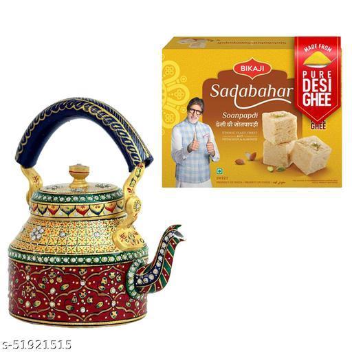 iHandikart Diwali Gift Combo for Diwali Gifting, (Combo Includes - Handpainted Kettle  And Sadabahar Soanpapdi 450g ),IHKSKU-DFC0025