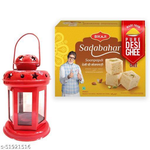 iHandikart Diwali Gift Combo for Diwali Gifting, (Combo Includes - Lantern And Sadabahar Soanpapdi 450g ),IHKSKU-DFC0027