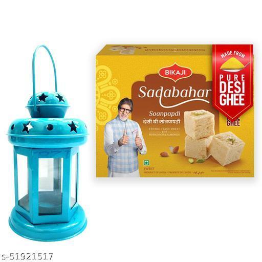 iHandikart Diwali Gift Combo for Diwali Gifting, (Combo Includes - Lantern And Sadabahar Soanpapdi 450g ),IHKSKU-DFC0026