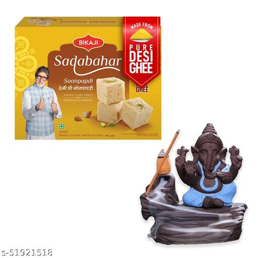 iHandikart Diwali Gift Combo for Diwali Gifting, (Combo Includes - Smoke Fountain  And Sadabahar Soanpapdi 450g ),IHKSKU-DFC0020
