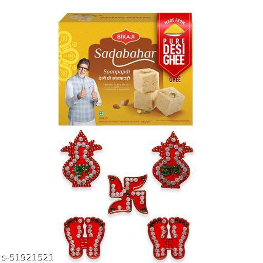iHandikart Diwali Gift Combo for Diwali Gifting, (Combo Includes - Shubh laabh Rangoli And Sadabahar Soanpapdi 450g ),IHKSKU-DFC0013