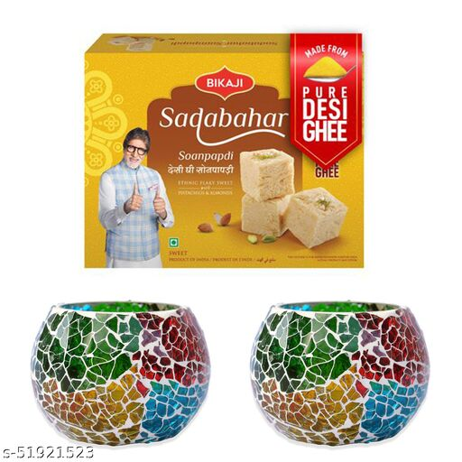 iHandikart Diwali Gift Combo for Diwali Gifting, (Combo Includes - Two Mosaic Tea Light Holders And Sadabahar Soanpapdi 450g ),IHKSKU-DFC0004