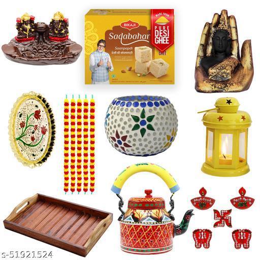 iHandikart Diwali Gift Combo for Diwali Gifting, (Combo Includes - Pooja Thali,Shubh Labh, Tea Light Holder, Kettle, lantern,Smoke Fountain,Buddha,Tray,5 Garlands And  Soanpapdi 450g),IHKSKU-DFC0036