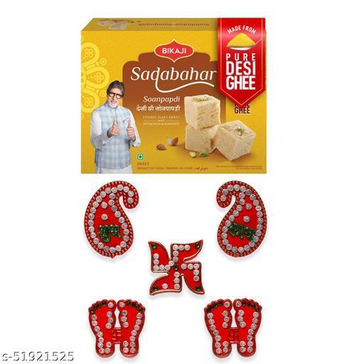 iHandikart Diwali Gift Combo for Diwali Gifting, (Combo Includes - Shubh laabh Rangoli And Sadabahar Soanpapdi 450g ),IHKSKU-DFC0014