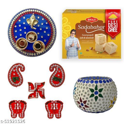 iHandikart Diwali Gift Combo for Diwali Gifting, (Combo Includes - Pooja Thali,Shubh Labh, Tea Light Holder And Sadabahar Soanpapdi 450g ),IHKSKU-DFC0035