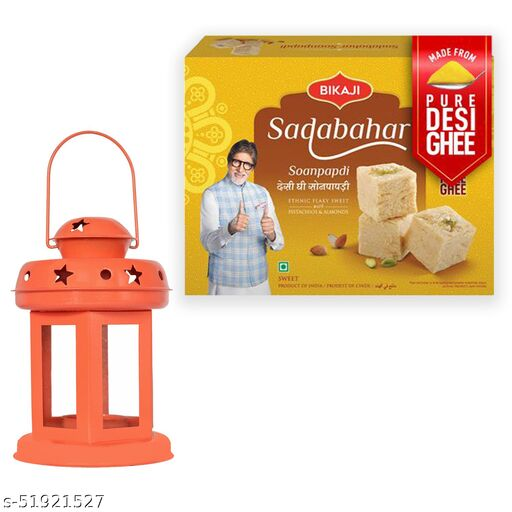 iHandikart Diwali Gift Combo for Diwali Gifting, (Combo Includes - Lantern And Sadabahar Soanpapdi 450g ),IHKSKU-DFC0029