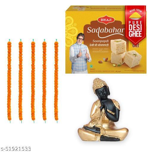 iHandikart Diwali Gift Combo for Diwali Gifting, (Combo Includes - 5 Marigold Garlands, Buddha  And Sadabahar Soanpapdi 450g ),IHKSKU-DFC0007