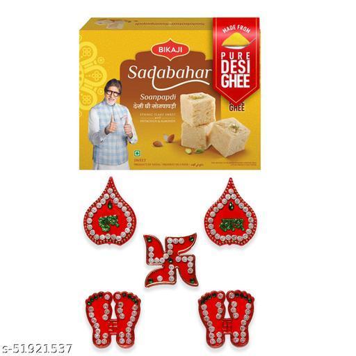 iHandikart Diwali Gift Combo for Diwali Gifting, (Combo Includes - Shubh laabh Rangoli And Sadabahar Soanpapdi 450g ),IHKSKU-DFC0011