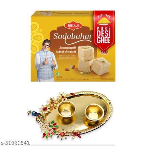 iHandikart Diwali Gift Combo for Diwali Gifting, (Combo Includes - Pooja Thali And Sadabahar Soanpapdi 450g ),IHKSKU-DFC0015