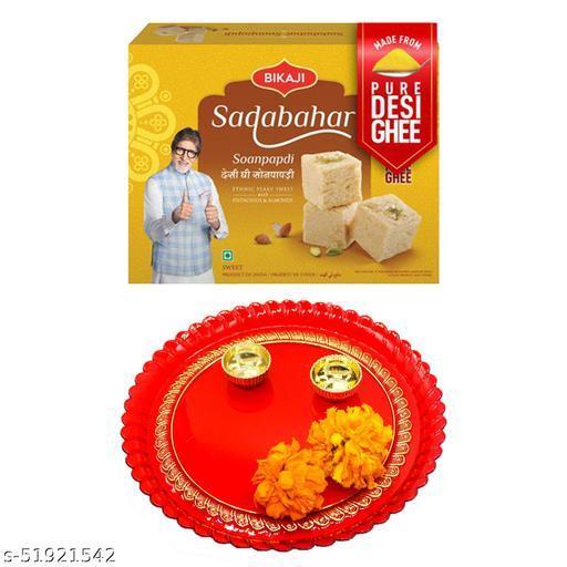 iHandikart Diwali Gift Combo for Diwali Gifting, (Combo Includes - Pooja Thali And Sadabahar Soanpapdi 450g ),IHKSKU-DFC0017