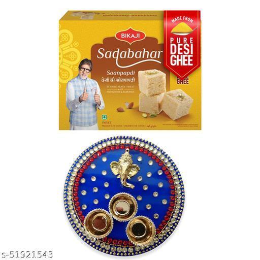 iHandikart Diwali Gift Combo for Diwali Gifting, (Combo Includes - Pooja Thali And Sadabahar Soanpapdi 450g ),IHKSKU-DFC0016
