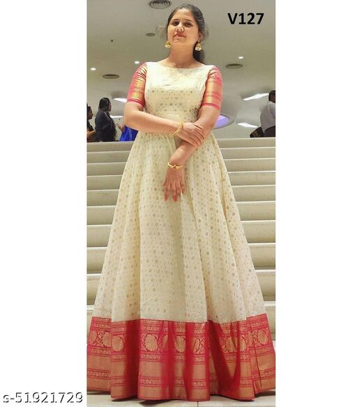 Demanding Milkey white Colored Party wear Jacquard Silk Long Gown
