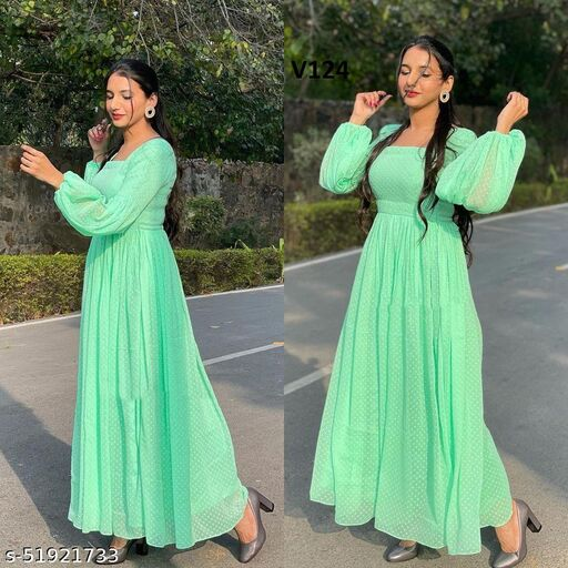 Attractive parrot Green colored partywear floor touch Georgette gown