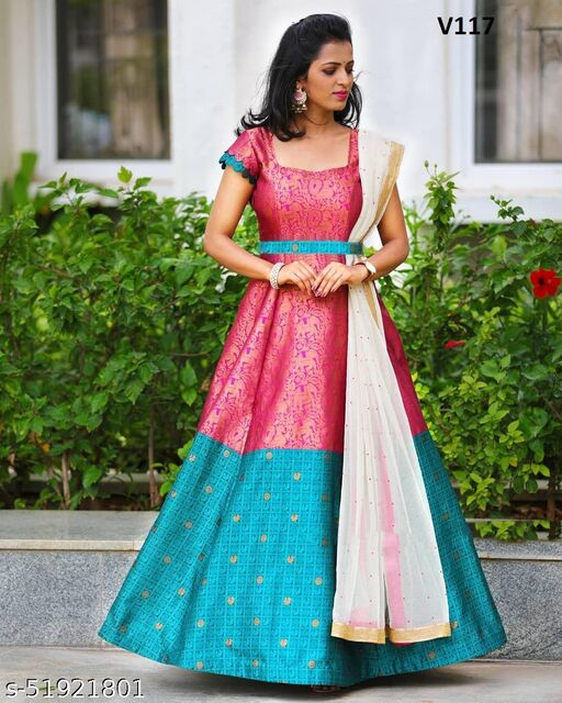 Exceptional Rani Colored Partywear jacquard  Gown