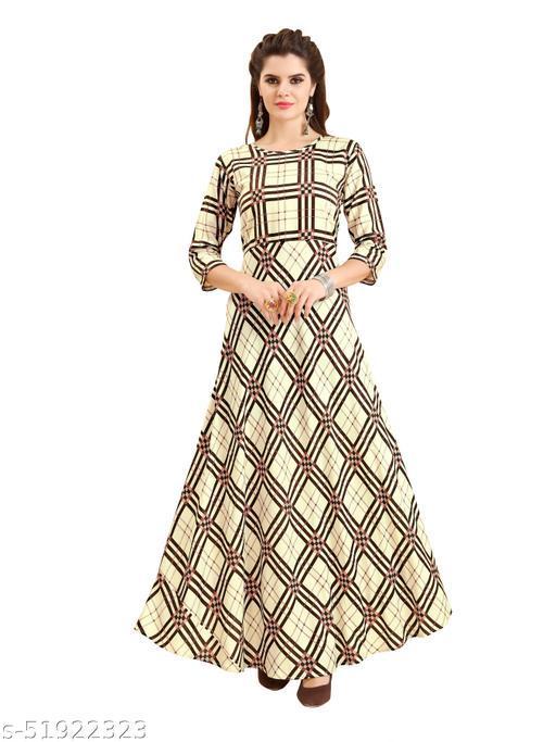 Women's Rayon Fabric Classic Hand Work A-Line Gown/Rayon Anarkali Kurti/A-Line Gown/Rayon Straight Printed Kurti/Digital Printed Kurti