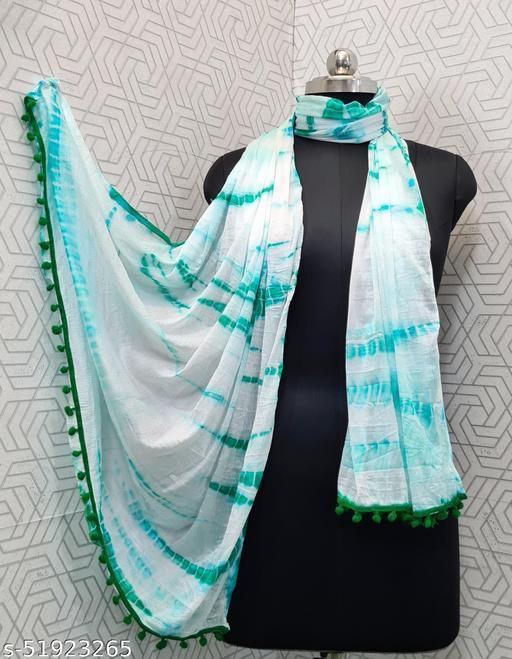 Lady Shopi Beautiful Women Chiffon Printed Stylelist Dupatta(CHINON GREEN)