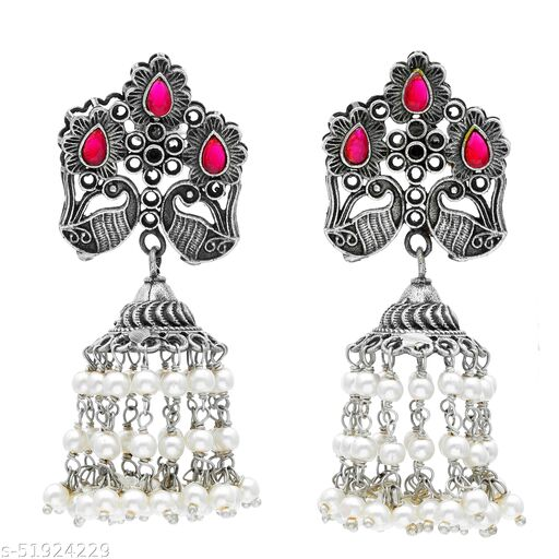 Premium quality silver look alike carved leaf ,studded with semi precious stones Jhumkas