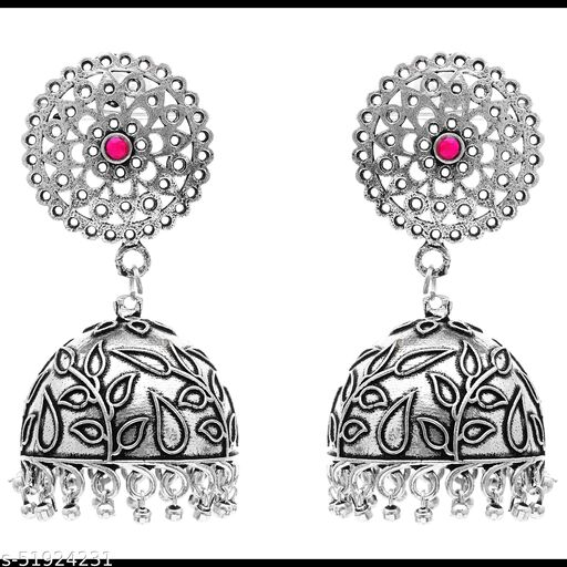 Premium quality silver look alike carved Jhumkas earrings studded with semi precious stones