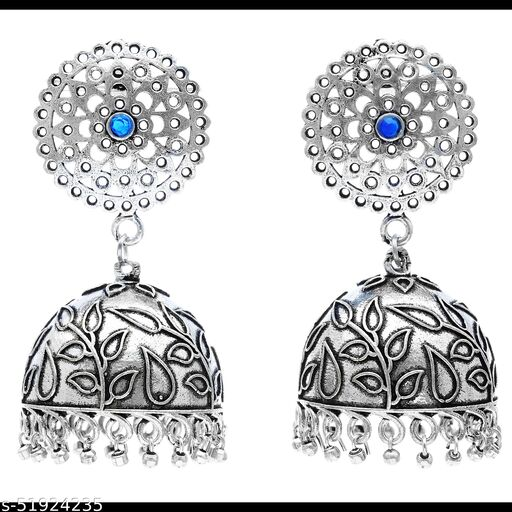 Premium quality silver look alike Jhumkas earrings