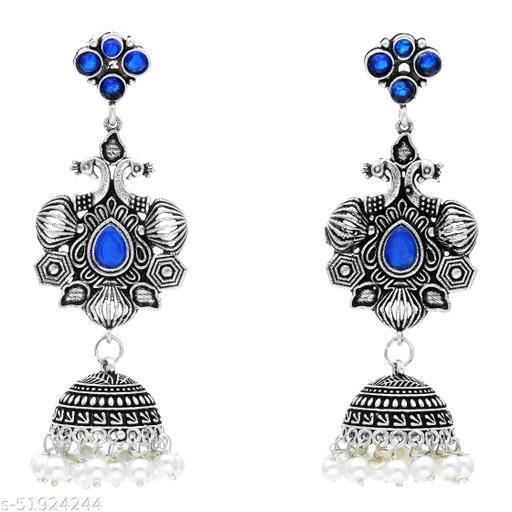 Premium quality silver look alike Jhumkas earrings with fresh water pearl