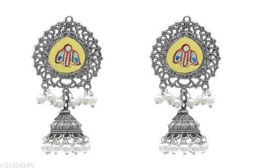 Premium quality silver look alike hand painted leaf danglers earrings with fresh water pearl