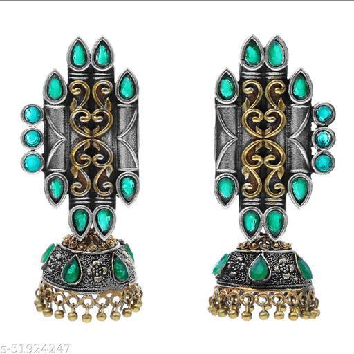 Premium quality silver look alike oxidised dual tone Carved Jhumkas earrings studded with semi precious stones