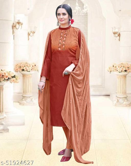 Cotton Printed Dark Orange DressMaterial
