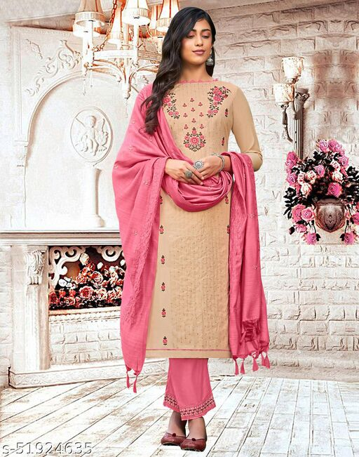 Cotton Embroidered Beige Dress Material