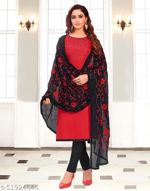 Cotton Handwork Red Dress Material