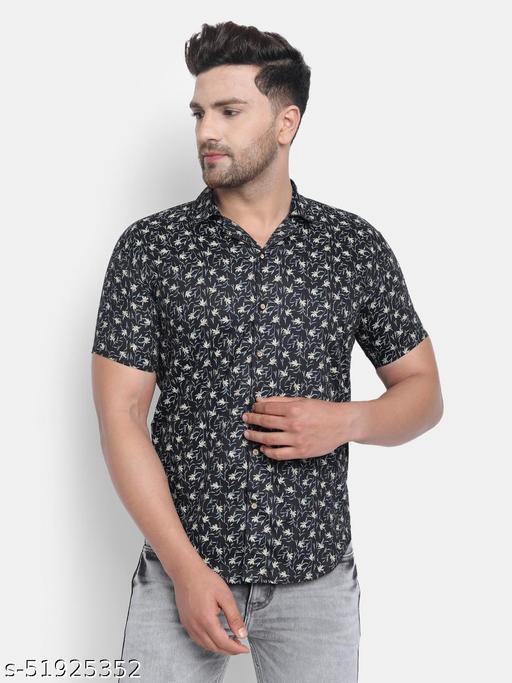 Trendy Printed Satin Half Sleeves Mens Shirt