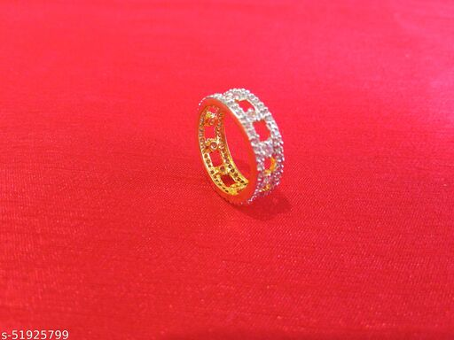 Bindhani Traditional & Ethnic CZ Gold Plated Finger Ring for Women & Girls