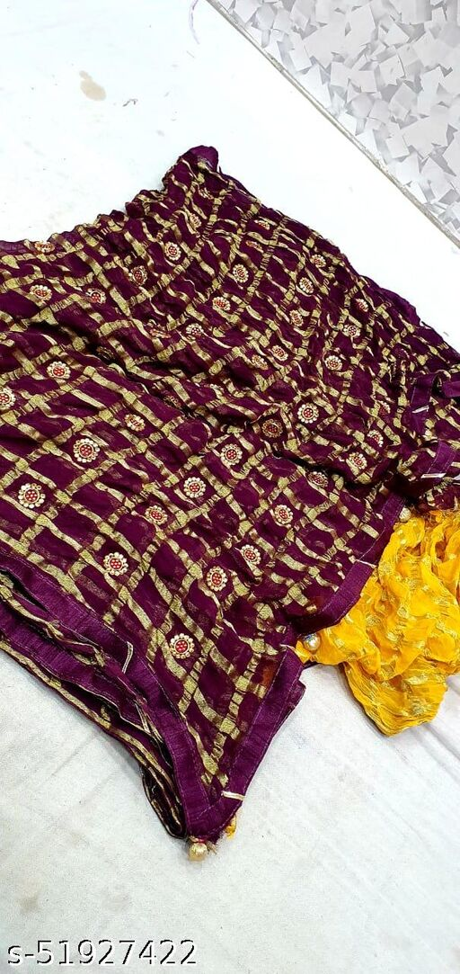 Pure Georgette Fabric Saree Viscos chokda and hand work butti saree
