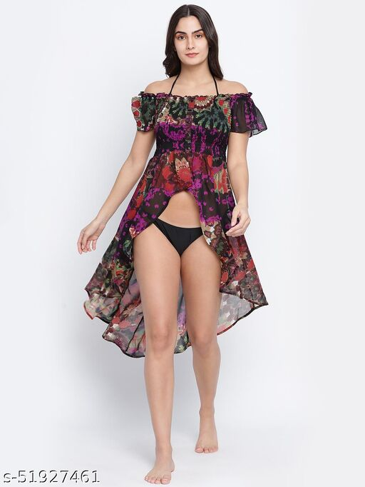 Fusion majestic multicolor printed  women beachwear Dress
