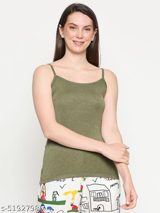 InocenCia Women's Olive Green Melange Solid Camisole