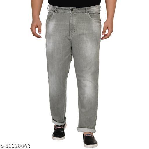John Pride Plus Size Men Regular Fit Mid-Rise Clean Look Stretchable Olive Jeans