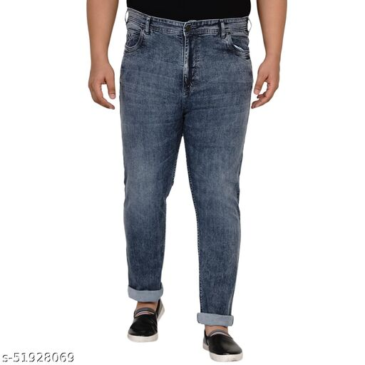 John Pride Plus Size Men Regular Fit Mid-Rise Clean Look Stretchable Charcoal Jeans