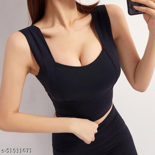 Women's Seamless Top Padded Stylish Sports Bra(Black)