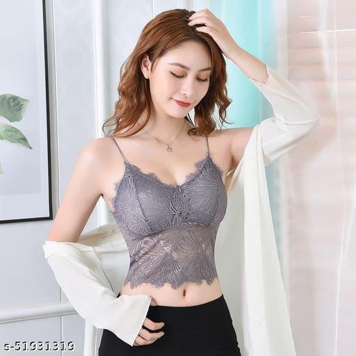Women Bralette Lightly Padded Bra(Grey)