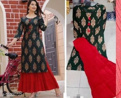 (R. Sharara) Women's Beautiful Foil Printed Green With Tassel Work Kurti & Red Sharara Set