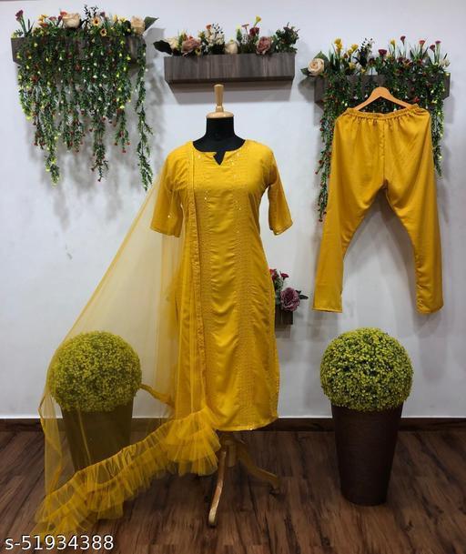 Lemon Yellow rayon thread Kurti and seqeuence work salwar suit