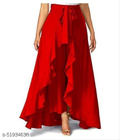 Women's Ruffel Pants Split High Waist Maxi Long Crepe Plazzo|Overlay Pants Skirt for Girls
