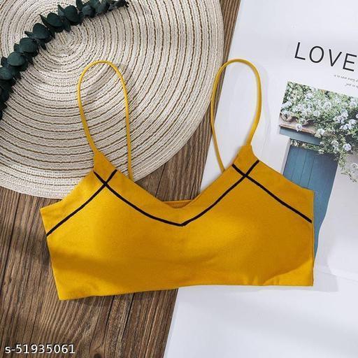 Women T-Shirt Lightly Padded Bra(Yellow)
